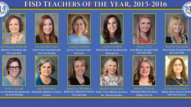 FISD Congratulates the Campus Teachers of the Year for 2015-2016