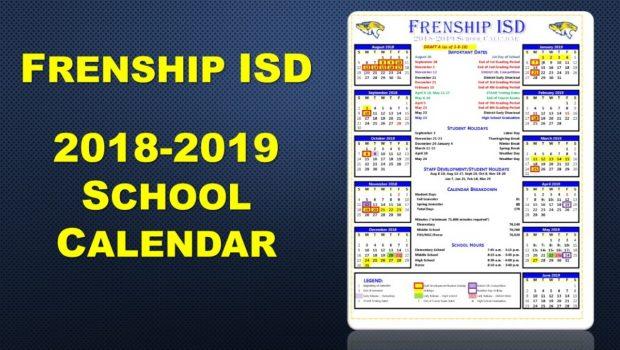 Frenship ISD Finalizes 2018-19 Calendar