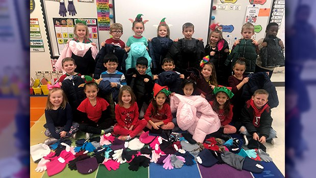 Crestview Kindergartners Keeping Others Warm this Winter