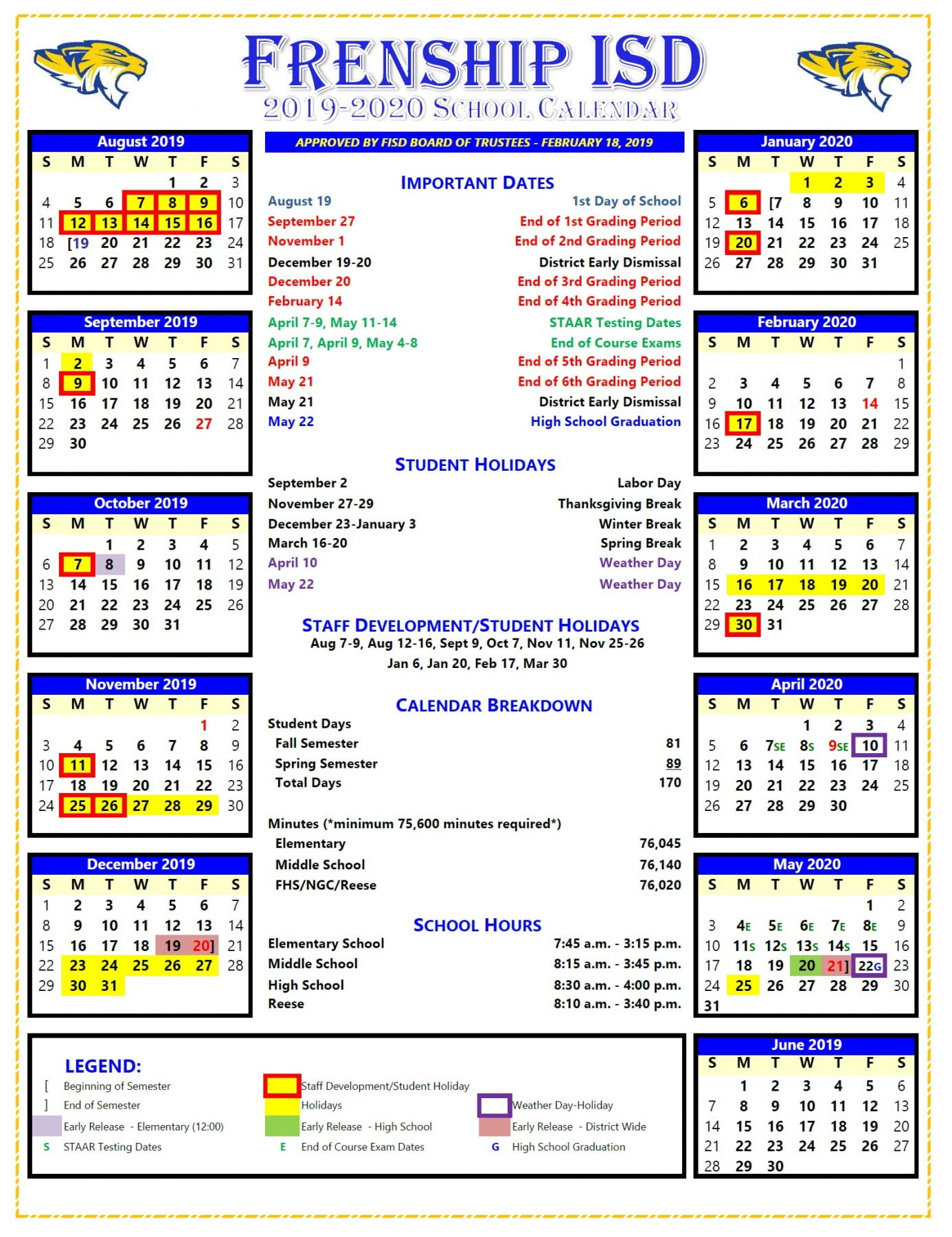 Isd Calendar 2019 FISD Board Approves 2019 2020 School Calendar