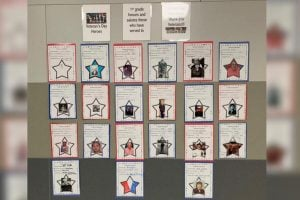 students display photos of their veterans
