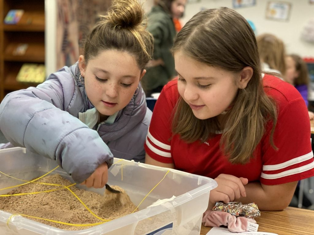 westwind students use dig kits to uncover teacher's baby names